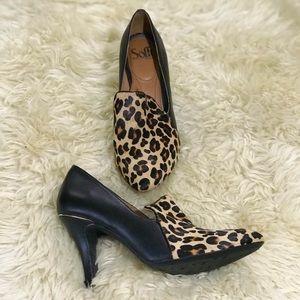 Sofft Cheetah Print Black Slip On Heels Shoes